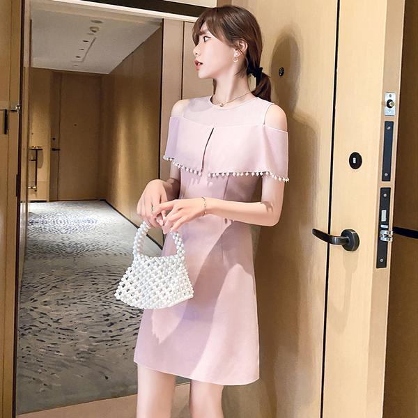 超殺29折 韓國風露肩拼接朦朧網紗荷葉邊釘珠收腰顯瘦短袖洋裝