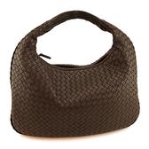 【奢華時尚】秒殺推薦!BOTTEGA VENETA 咖啡色編織羊皮肩背中和尚包(八八成新)#23889