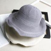 【好康618】簡約荷葉邊漁夫帽子女日系針織盆帽可折疊