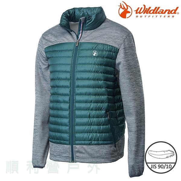 荒野WILDLAND 男款彈性針織拼接羽絨外套 0A62992 深墨綠 保暖外套 羽絨衣 輕羽絨 OUTDOOR NICE