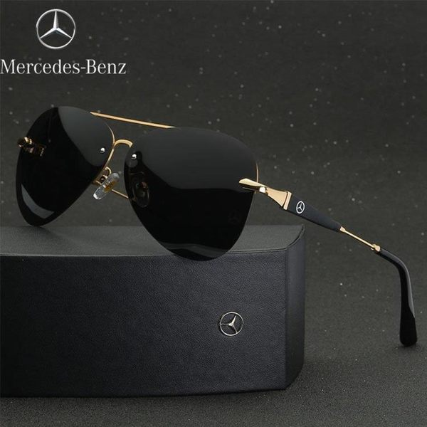 Mercedes-Benz賓士 偏光眼鏡 復古雷朋 輕量薄型無框 太陽眼鏡 高檔純鈦  霧銀鈦金屬鏡片