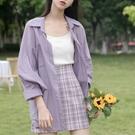 夏季薄款紫色長袖防曬衣襯衫女夏薄上衣2021新款夏季外穿百搭外套 【端午節特惠】