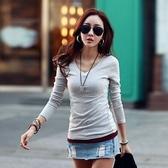 長袖針織衫-純色簡約百搭修身女T恤5色73hn34【時尚巴黎】