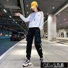 快速出貨 褲子新款秋冬黑色加絨工裝褲女寬...