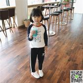 兒童印花人像T恤秋季新款韓版男女童插肩袖中大童純棉打底衫 全館88折