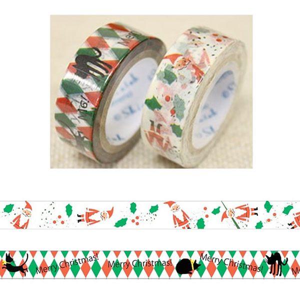 Shinzi Katoh 加藤真治 聖誕主題15mm紙膠帶組-聖誕老人(一組2捲入)★funbox生活用品★_ZI02430
