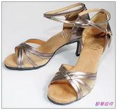 節奏皮件~國標舞鞋拉丁鞋款編號68805 皮面舞鞋銀銅