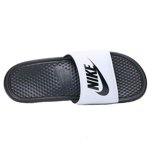 Nike Benassi JDI 男 白 黑 拖鞋 運動拖鞋 休閒 籃球員 運動 舒適 海綿襯墊 343880100