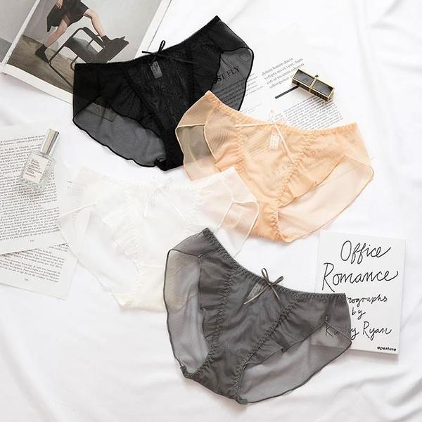 促銷 透明蕾絲內褲女性感透視誘惑火辣無痕純棉襠低腰三角少女式內褲