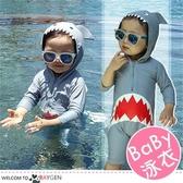 卡通鯊魚造型兒童泳衣 連體衣 泳裝 防曬衣