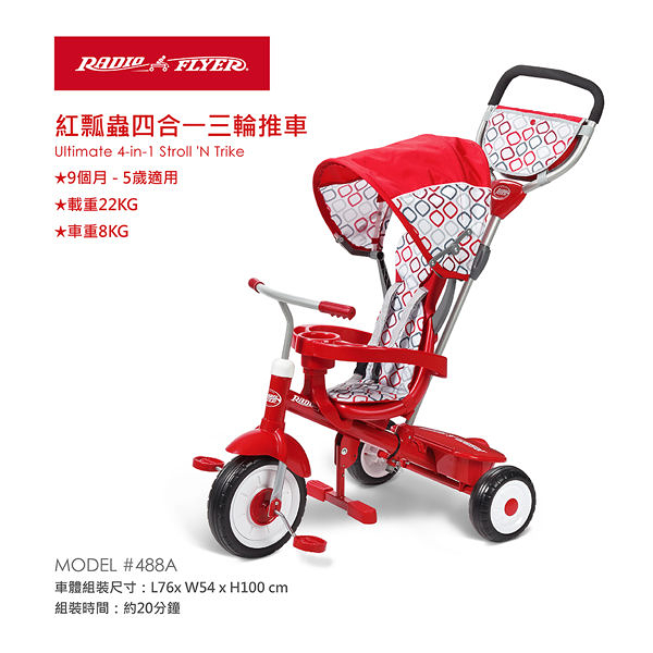 Radio Flyer-紅瓢蟲四合一三輪推車 ULTIMATE 4-IN1 STROLL N TRIKE