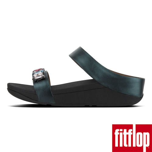 【FitFlop】FINO BEJEWELLED LEATHER SLIDES(銀河綠)