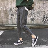 休閒褲 秋季新款韓版復古鬆緊腰西裝褲女大碼寬鬆顯瘦九分格子哈倫褲潮 快意購物網