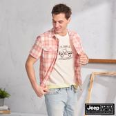 【JEEP】雙口袋造型格紋短袖襯衫(橘紅)