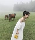 泰國沙灘裙2020新款超仙一字肩露背洋裝巴厘島海邊度假白色長裙 印巷家居