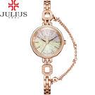 JULIUS 聚利時 波光粼粼炫彩立體鏡面鍊式腕錶-玫瑰金/24mm 【JA-980C】