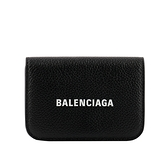 【BALENCIAGA】經典Logo牛皮壓釦三折短夾(Mini)(黑色) 593813 1IZIM 1090