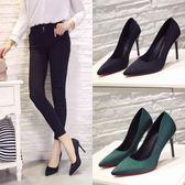 韓版秋季新款禮儀高跟鞋女細跟女鞋大碼職業鞋黑色工作鞋絨面單鞋