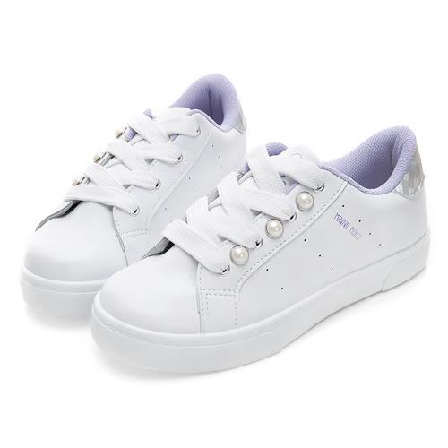 Disney 愛美甜心 側邊珍珠綁帶休閒鞋-白紫