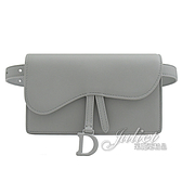 茱麗葉精品【全新現貨】Christian Dior SADDLE 翻蓋釦式迷你腰掛包.灰
