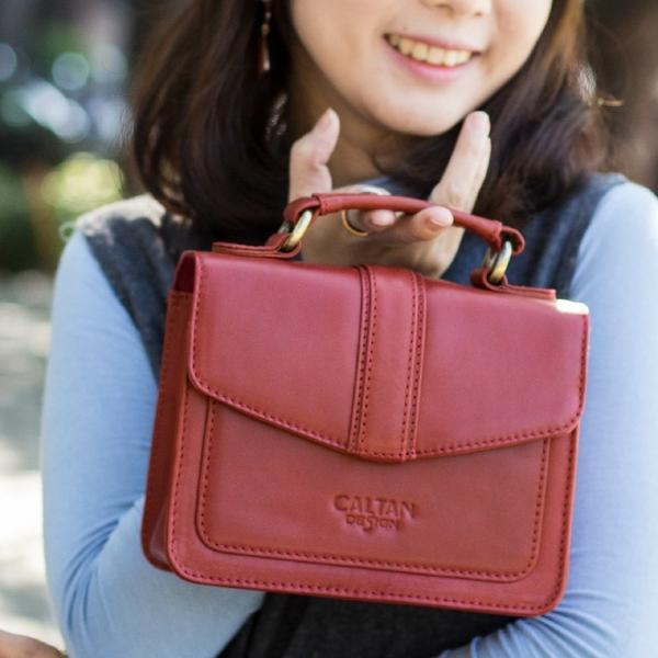 牛皮/斜背包【CALTAN】俏麗質感小方包-5416cd紅