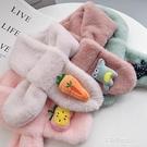 兒童保暖圍巾-韓版圣誕節兒童毛絨圍巾女加厚1-3-6歲男寶寶圍脖冬季保暖卡通潮  喵喵物語