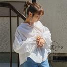 「Summer」百摺氣球袖設計襯衫 - ...