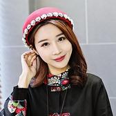 貝雷帽-花朵鑲邊圓頂紅色女毛呢帽73vt22【時尚巴黎】