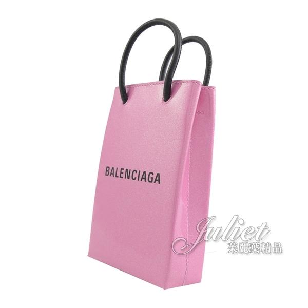 茱麗葉精品【全新現貨】BALENCIAGA 巴黎世家 593826 Shopper 品牌LOGO迷你兩用手機袋.粉