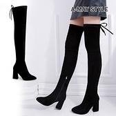 彈力膝上靴-顯瘦美腿後綁帶高跟過膝長靴