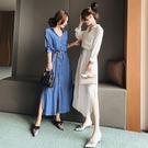 VK精品服飾 韓國風名媛氣質收腰襯衣配腰帶長袖洋裝