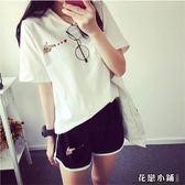 跑步休閑套裝女士韓版大碼寬松愛心刺繡短袖短褲運動服兩件套