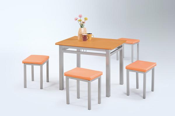 【 IS空間美學】3尺木紋檯面602餐桌+木紋單人板凳椅(一桌四椅/兩色可選)