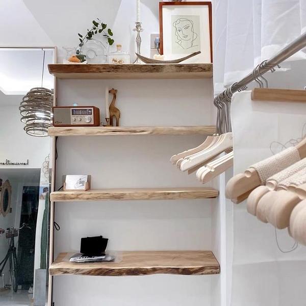 墻上置物架 壁掛墻面臥室書架創意一字隔板裝飾客廳裝飾一字板 交換禮物