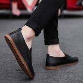 【黑色星期五】夏季正韓豆豆鞋男士休閒小皮鞋個性百搭英倫一腳蹬懶人鞋