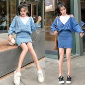 VK精品服飾 韓系假兩件露肩包臀牛仔長袖洋裝