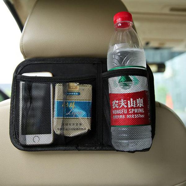 車用收納【ZCR007】車用椅背收納袋(黑) 收納袋 掛式收納袋 大容量 車用 旅行 飲料架 收納 123ok