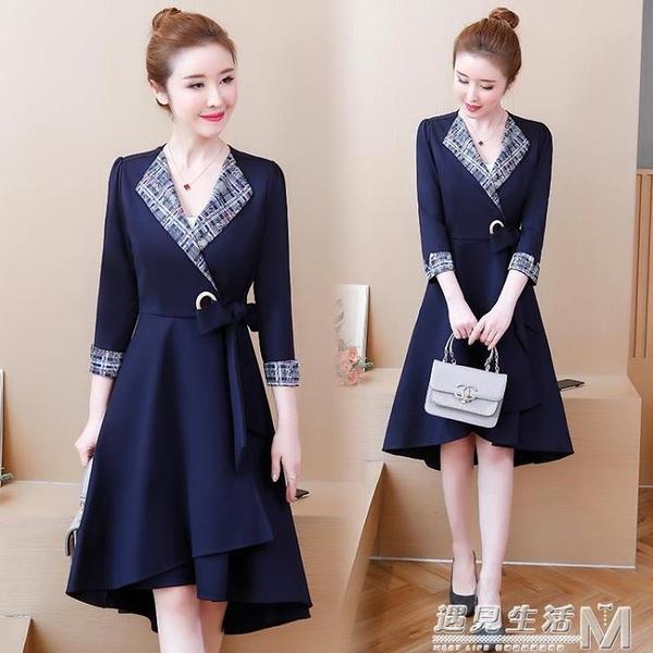 韓版女裝新款早秋中長款洋氣大碼胖mm胖妹妹遮肚子洋裝顯瘦