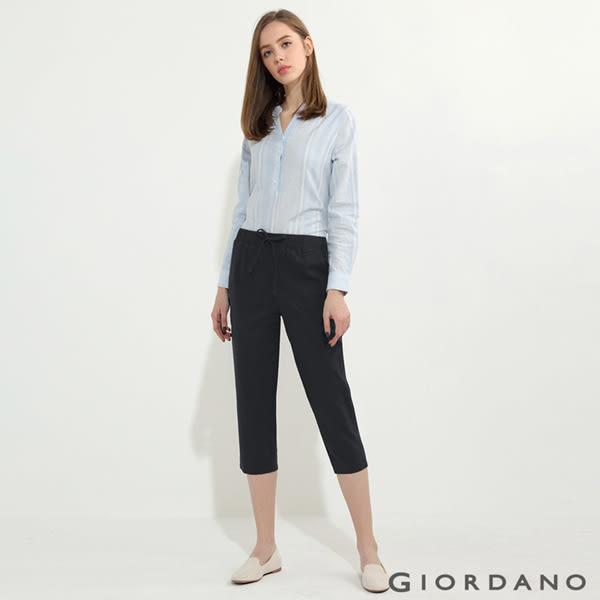 【GIORDANO】女裝腰鬆緊抽繩棉麻休閒七分褲- 09 標誌黑