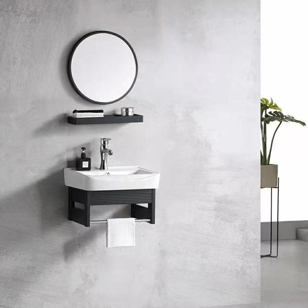 北歐輕奢小戶型太空鋁浴室柜衛生間陶瓷盆一體臺盆面盆洗手盆組合【頁面價格是訂金價格】