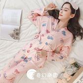 日系睡衣-和服睡衣女士純棉長袖甜美可愛公主風可外穿家居服套裝-奇幻樂園