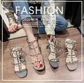 時裝涼鞋女年夏季新款韓式時尚百搭鉚釘細跟網紅仙女風高跟鞋 - 風尚3C