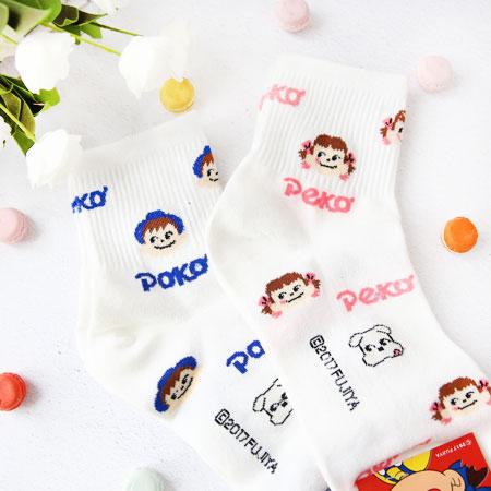 韓國 不二家人物襪子 襪子 造型襪 流行襪 牛奶妹 牛奶弟 peko poko 居家 不二家