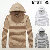ToGetheR+【J2124】休閒簡約款背面滿版字母印花刷毛連帽長袖T恤(三色)