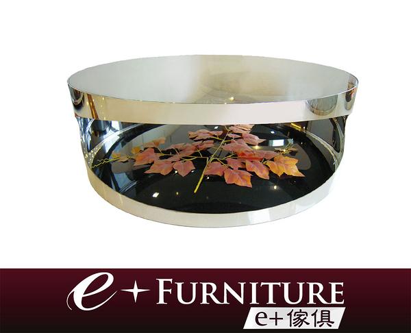 『 e+傢俱 』BT15 納帝魯斯 Nautilus 時尚現代 開口笑造型不銹鋼 強化灰玻 大茶几   圓茶几