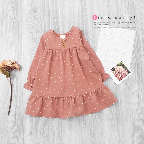 水玉點點背後蝴蝶結娃娃洋裝 甜美 長袖洋裝 女童裝 女童洋裝 秋冬 連衣裙 連身裙 點點 綁帶 蕾絲