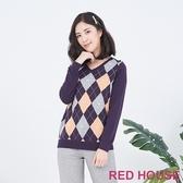 【RED HOUSE 蕾赫斯】菱格紋針織衫(紫色)