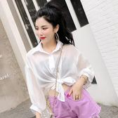 2018秋季新款女裝韓版氣質寬松雪紡襯衫單排扣薄款外套防曬衣開衫