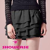 【SHOWCASE】荷葉蛋糕百褶層次短裙(黑)