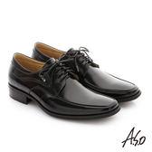 A.S.O 菁英通勤 鏡面摔花牛皮綁帶奈米紳士鞋-黑